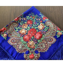 Traditional Russian Scarf (Blue with Roses)