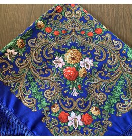 Traditional Russian Scarf (Blue with Pink Lillies)