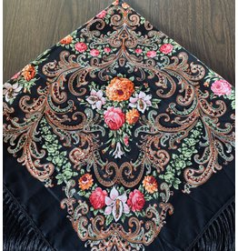 Traditional Russian Scarf (Black with Pink Lillies)