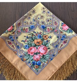 Traditional Russian Scarf (Yellow Floral)