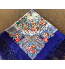 Traditional Russian Scarf (Blue with Yellow Lillies)