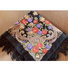 Traditional Russian Scarf (Black with Roses)
