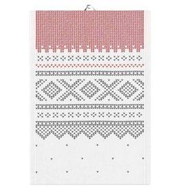 Marius White & Red Folk Pattern Tea Towel
