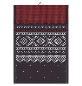 Marius Black & Red Folk Pattern Tea Towel