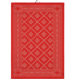 Red Folk Pattern Tea Towel