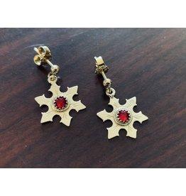 Imperial Snowflake Earrings with Garnet