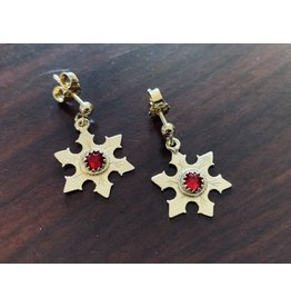 Imperial Snowflake Earrings with Ruby