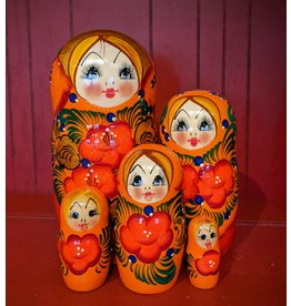 Red Matryoshka with Hibiscus (Five-Piece)