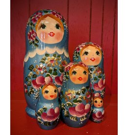 Matryoshka with Pink Flowers (Five-Piece)