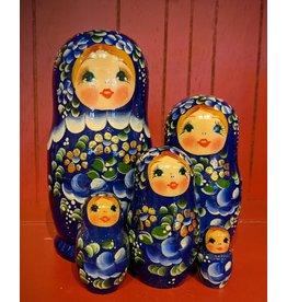 Medium Blue Matryoshka with Gold Petals (Five-Piece)