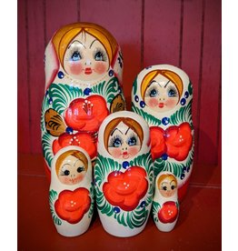 Pearl Matryoshka with Hibiscus (Five-Piece)