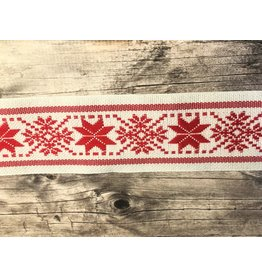 Slavic Folk Art Ribbon Red Star Snowflake on White