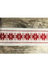 Slavic Folk Art Ribbon Red Stars on White