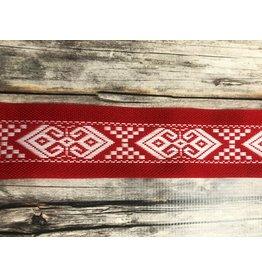 Slavic Folk Art Ribbon White on Red