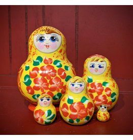 Red and Yellow Matryoshka Floral (Five-Piece)