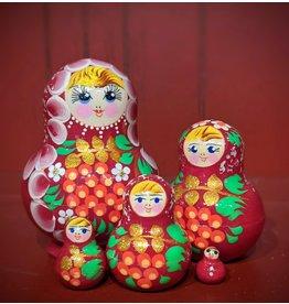 Magenta Matryoshka with Kalinka Berries (Five-Piece)