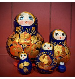 Blue Matryoshka Gold Floral (Five-Piece)