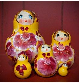Yellow and Magenta Matryoshka Floral (Five-Piece)