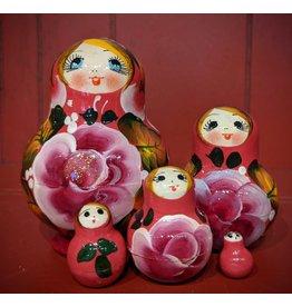Pink Matryoshka with Purple Peony (Five-Piece)