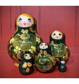 Green Matryoshka Gold Floral (Five-Piece)