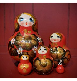 Red Matryoshka Gold Floral (Five-Piece)
