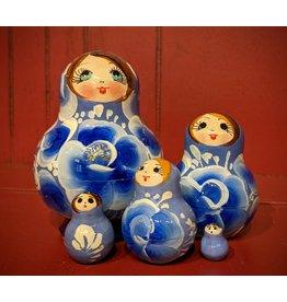 Light Blue Matryoshka White Floral (Five-Piece)