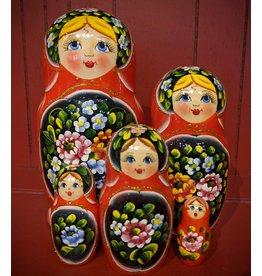 Red Matryoshka Zhostovo (Five-Piece)