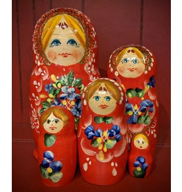 Red Matryoshka with Gold Lace Crown (Five - Piece)