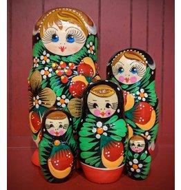 Matryoshka with Golden Strawberries (Five-Piece)
