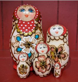 Etched Wood Matryoshka (Red) (Five-Piece)