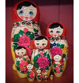Semenov Matryoshka with Pink Flowers (9-piece)