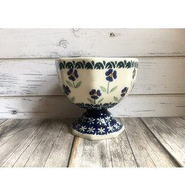Boleslawiec Polish Pottery Blue Flower Footed Bowl