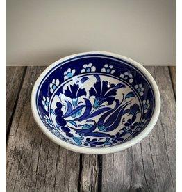 "Black Sea Pottery Small ""Tulip"" Bowl (Dark Blue on White)"