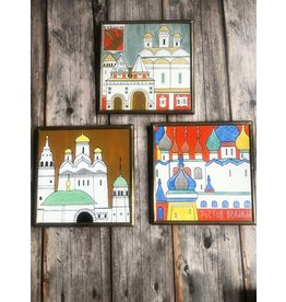 Soviet Mid Century Modern Set of Framed Tiles