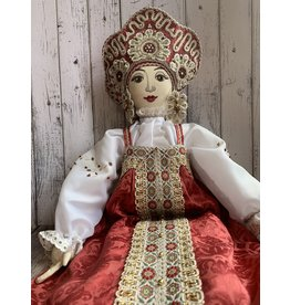 Vintage Russian Folk Costume Doll (Red)