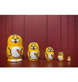 Mini Matryoshka Yellow Rabbit (Five-Piece)