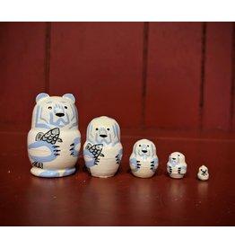 Mini Matryoshka Polar Bear (Five-Piece)