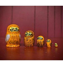 Mini Matryoshka Orange Owl (Five-Piece)