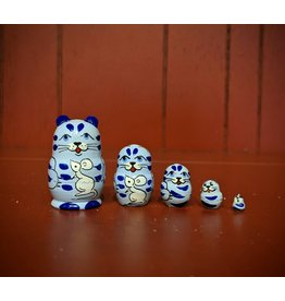 Mini Matryoshka Blue Cat (Five-Piece)
