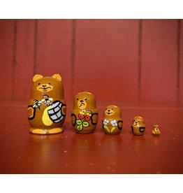 Mini Matryoshka Bear with Honey Pot (Five-Piece)