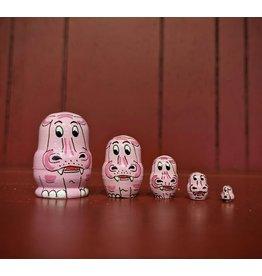 Mini Matryoshka Pink Hippo (Five-Piece)