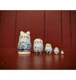 Mini Matryoshka Hello Kitty Blue (Five-Piece)