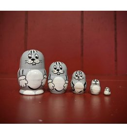 Mini Matryoshka Gray Rabbit (Five-Piece)