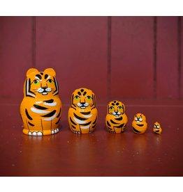 Mini Matryoshka Tiger (Five-Piece)