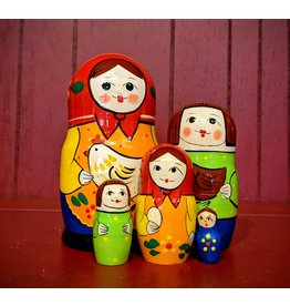 Matryoshka with Hen and Red Scarf (Five-Piece)