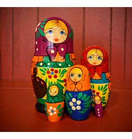 Traditional Matryoshka with Purple Scarf (Five-Piece)