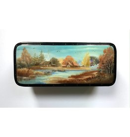 Lacquer Box with Autumn River Landscape