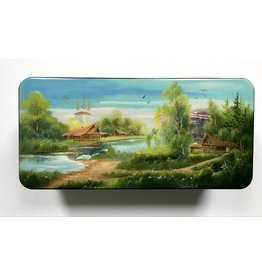 Lacquer Box with Spring River Landscape