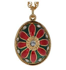 "Fabergé Egg Necklace ""Red Flower"""
