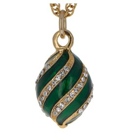 Fabergé Egg Necklace (Green Swirl)